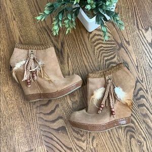Chinese Laundry Milana Suede Bootie Tan Wedge